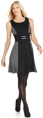 Style&Co. Dress, Sleeveless Colorblocked A-Line
