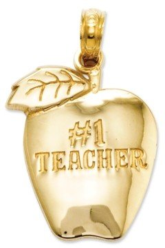 Macy's 14k Gold Charm, Number 1 Teacher Apple Charm