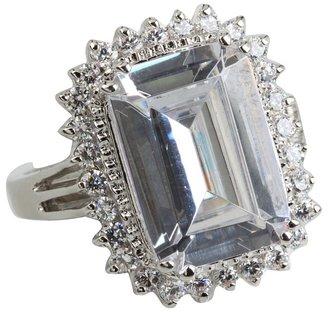 Kenneth Jay Lane CZ By CZ Empress Cut Ring with Pave Trim (Black/Rhodium) - Jewelry