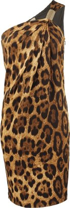 Michael Kors Leopard One-Shoulder Dress