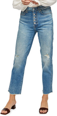 7 For All Mankind High-Waist Cropped Straight Jeans with Button Fly