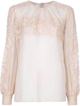 Valentino lace yoke blouse