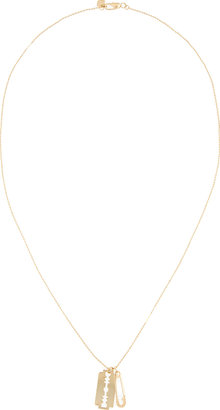 McQ by Alexander McQueen Gold Razor Blade & Safety Pin Pendant Necklace