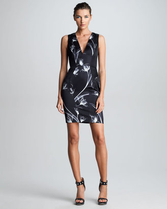 Jason Wu X-Ray Floral-Print Sheath Dress, Black/White
