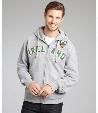 Blue Marlin heather grey cotton 'Ireland' fleece zip front hoodie