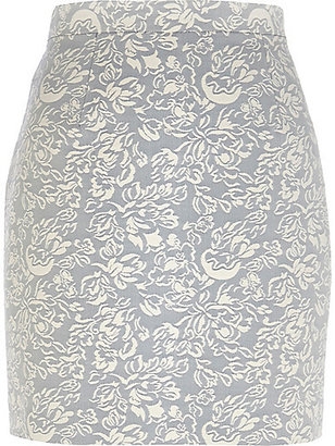 River Island Womens Light grey floral jacquard mini skirt
