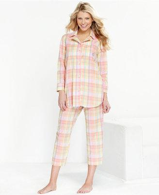 Lauren Ralph Lauren Pajamas, Classic Notch Collar Top and Capri Pants Set