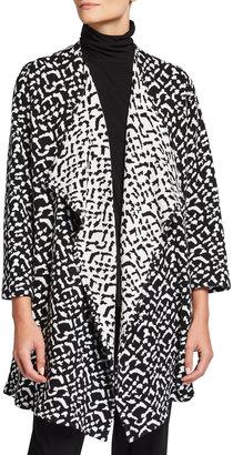 Caroline Rose Plus Size Jacquard Knit Draped Long Cardigan