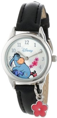 Disney Women's WTP053 Eeyore Black Leather Strap with Flower Charm Watch $36.99 thestylecure.com