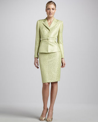 Albert Nipon Belted Jacquard Skirt Suit