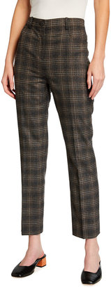 Theory Plaid Straight-Leg Jeans