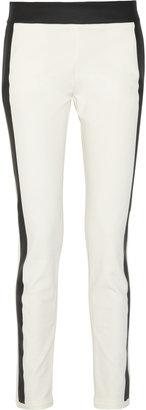 Les Chiffoniers Faux leather-trimmed cotton-blend legging-style pants