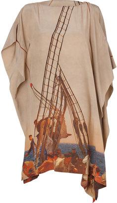 Akris Sand-Multi Printed Silk Dress