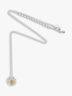 Estella Bartlett Daisy Flower Pendant Necklace, Silver