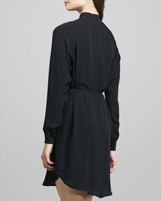 Theory Aeirine Mock-Neck Shirtdress