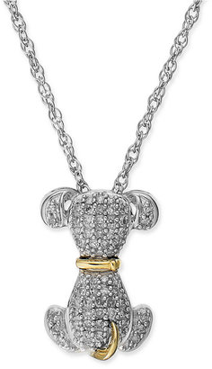 Diamond Dog Pendant Necklace in Sterling Silver and 14k Gold (1/5 ct. t.w.)