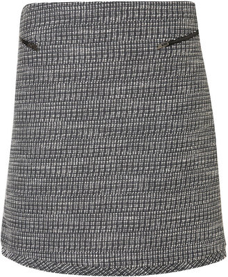 Navy Tweed Zip A-line Skirt