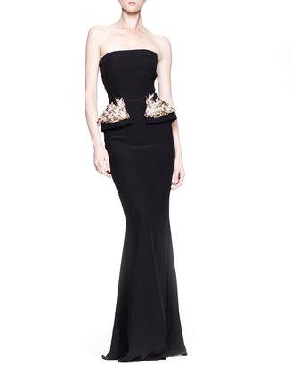 Alexander McQueen Strapless Gown with Beaded Peplum, Black