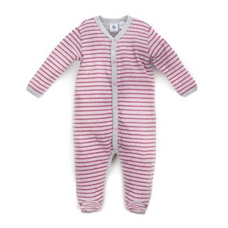 Petit Bateau Baby Boy's Red Striped Footie - Grey