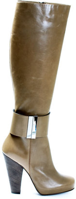 Barbara Bui Taupe leather stacked heel boot