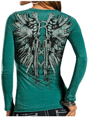 Rock & Roll Cowgirl Guns & Wings Shirt - V-Neck, Long Sleeve (For Women)