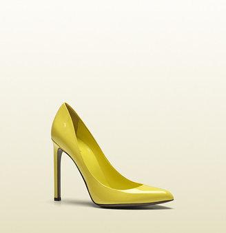Gucci Gloria Yellow Patent Leather High Heel Pump