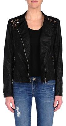 Blank NYC Vegan Leather Lace Jacket