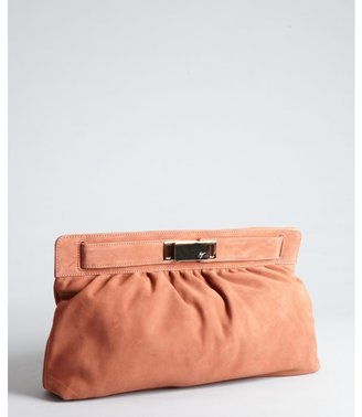 Giuseppe Zanotti burnt orange pleated suede oversized clutch