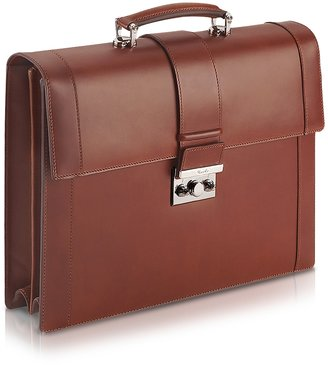 Pineider Power Elegance - Brown Double Gusset Leather Briefcase