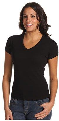 Three Dots S/S Mid V (Black) Women's Short Sleeve Pullover
