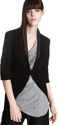 "VPL Straight"" Black Cropped Tuxedo Jacket"