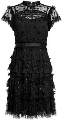 Needle & Thread Andromeda Black Bead-embellished Tulle Dress