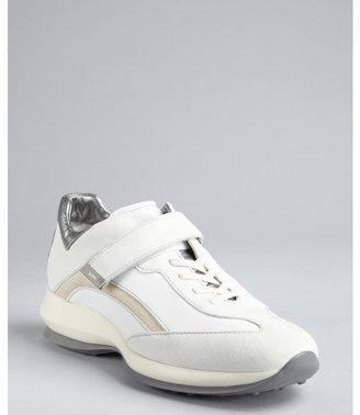 Tod's white and silver leather-suede strapped wedge sneakers