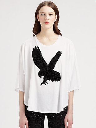 Stella McCartney Eagle-Appliquéd Draped Cotton Tee