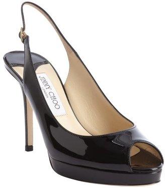 Jimmy Choo black patent leather peep toe 'Nova' slingback pumps