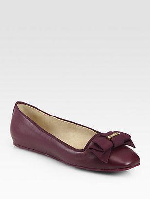 Salvatore Ferragamo My Muse Leather Bow Ballet Flats