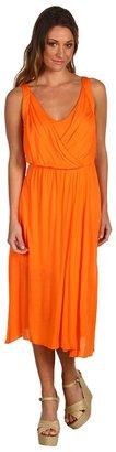 BCBGMAXAZRIA V-Neck Jersey Dress (Orange) - Apparel