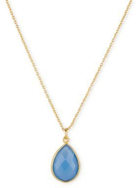 Lord & Taylor 18Kt. Gold & Aqua Teardrop Pendant Necklace