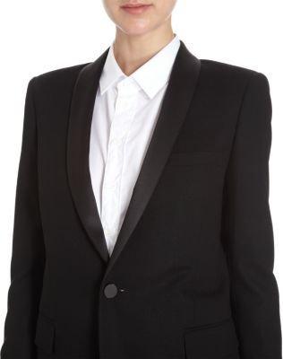 Saint Laurent Satin Lapel One-Button Jacket