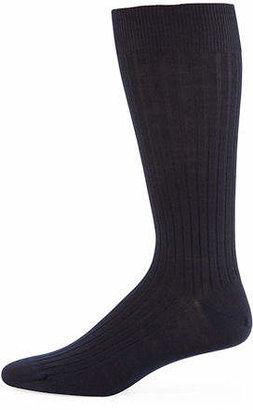 Neiman Marcus Ribbed Merino-Silk Mid-Calf Socks
