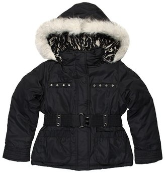 London Fog L212A64 Girls Faux Wool Jacket (Big Kids) (Black) - Apparel