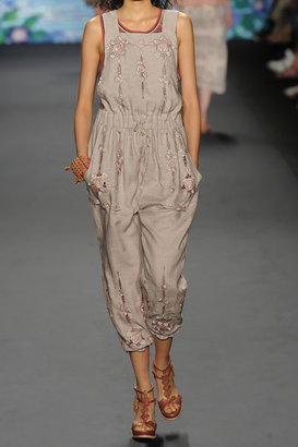 Anna Sui Embroidered linen jumpsuit