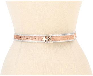 MICHAEL Michael Kors Michael Kors Pave MK Logo Buckle And Two Tone Binding Belt