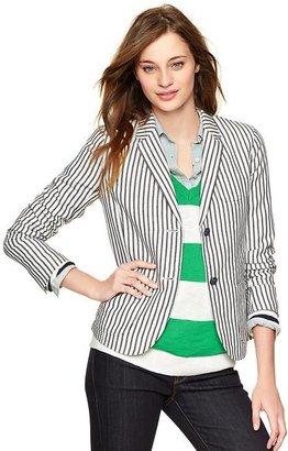 Gap Striped linen unstructured blazer