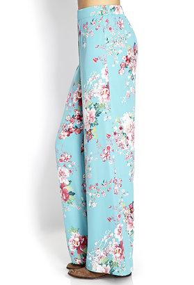 Forever 21 Cherry Blossom Wide-Leg Pants