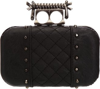 Religion Womens Voodoo Stud and Quilted Hardcase Clutch Black NA1150