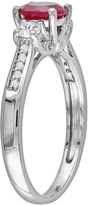 Rock & Republic 10k White Gold Lab-Created Ruby, Lab-Created White Sapphire & Diamond Accent Ring