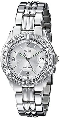GUESS G75511M Stainless Steel Bracelet Watch (Silver Bracelet/Silver Case With Crystals/Silver Dial) Watches