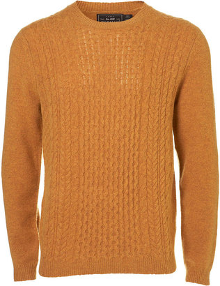 Topman Gold Elbow Patch Cable Knit Jumper
