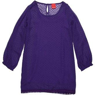 Ella Moss Parisienne L/S Dress (Big Kids) (Royal) - Apparel